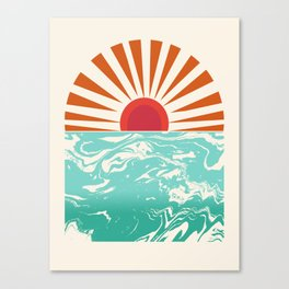 Keepin' It Real - retro 70s vibes throwback ocean sunset sunrise socal surfing beach life 1970's Canvas Print