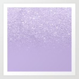 Stylish purple lavender glitter ombre color block Art Print