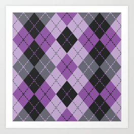 Purple Argyle Art Print
