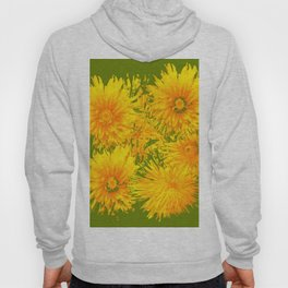ABSTRACTED MOSS GREEN  FIRST SPRING YELLOW DANDELIONS Hoody