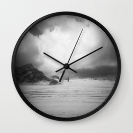 Girl Alone on the Sand Dunes - Corolla, NC - Black and White Film Photograph Wall Clock