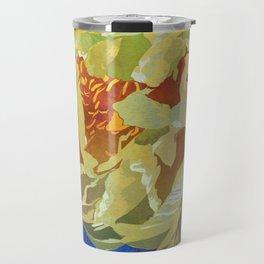 Pale Yellow Peony Flower Art | Watercolor Floral Illustration Travel Mug