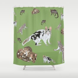 Eastern Quoll (Dasyurus viverrinus) Olive Shower Curtain