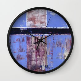 Chagrin Cornflower Blue Abstract Painting Modern Art Wall Clock