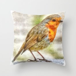 Christmas Robin Winter Watercolor Throw Pillow