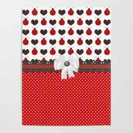 Ladybug and Hearts Poster