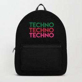 Techno techno techno rave quote Backpack