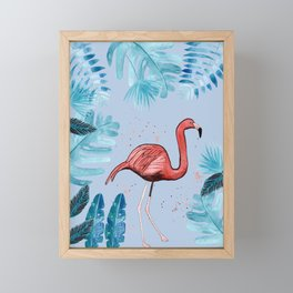Flamingo with tropical foliage and a violet background Framed Mini Art Print