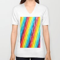 candy V-neck T-shirts featuring Rainbow Candy: Licorice by WhimsyRomance&Fun