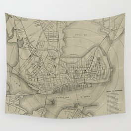 Vintage Map of Portland Maine (1902) Wall Tapestry