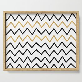 Writing Exercise- Simple Zig Zag Pattern - Black on White Gold - Mix & Match Serving Tray