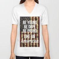 american V-neck T-shirts featuring American by Karolis Butenas