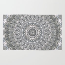 Mandala in white, grey and silver tones Rug