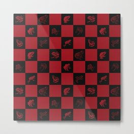 Checkered red frog art print Metal Print