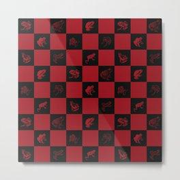 Checkered red frog art print Metal Print