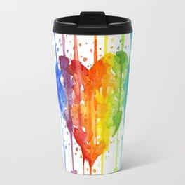 Heart Rainbow Watercolor Love Wins Colorful Splatters Travel Mug