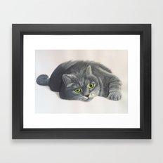 Grey Cat Painting Framed Art Print