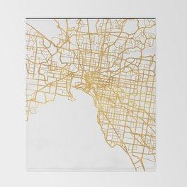 MELBOURNE AUSTRALIA CITY STREET MAP ART Throw Blanket