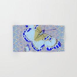 ORIENTAL STYLE BLUE-WHITE EXOTIC BUTTERFLY BLUE ART Hand & Bath Towel