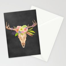 Deer Skull and Flowers Stationery Cards