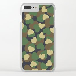 Heart Camo WOODLAND Clear iPhone Case