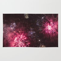 fireworks Area & Throw Rugs featuring Fireworks 3 by Veronika