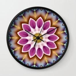 Happy Fuschia Flower Kaleidoscope Wall Clock