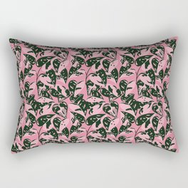 Large Banana Leaves . Pink and Green . Print Pattern Style Rectangular Pillow