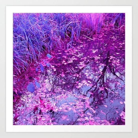 purple garden pond I Art Print