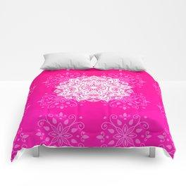 White mandala on bright pink design Comforters