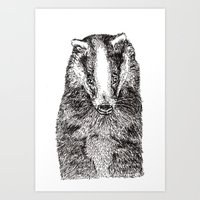 badger Art Prints featuring Badger by Meredith Mackworth-Praed