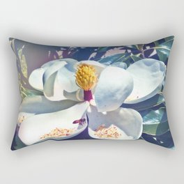 Magnolia Blossom and Bee Rectangular Pillow