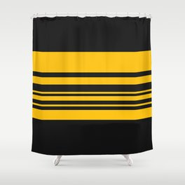 Yellow stripes on black Shower Curtain