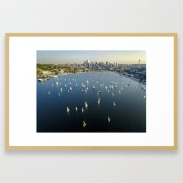 Sailing on Lake Union Framed Art Print