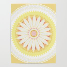 Sunshine Yellow Flower Mandala Abstract Poster