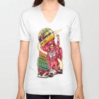 brasil V-neck T-shirts featuring Ayrton Senna do Brasil by Renato Cunha