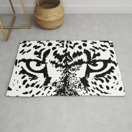 Black and White Leopard Big Wild Cat Rug