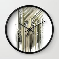 kurt cobain Wall Clocks featuring Kurt Melting by eyesdrippingink