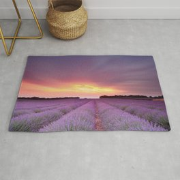 Lavandula Fields Sky Clouds Flowers sunset sunrise        Rug