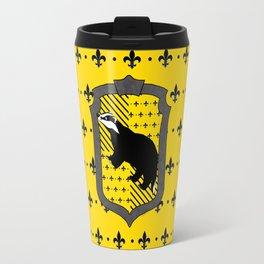 Hufflepuff house crest Fleur de Lis background Travel Mug