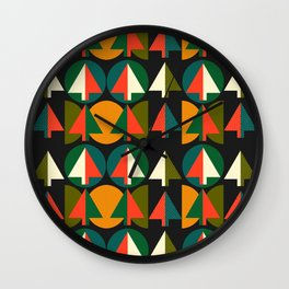 Retro Christmas trees Wall Clock