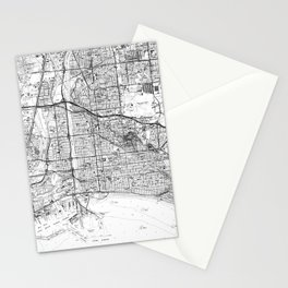 Vintage Map of Long Beach California (1964) BW Stationery Cards