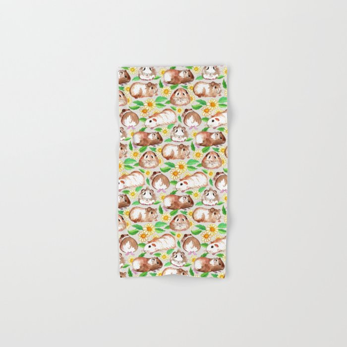 Guinea Pigs and Daisies in Watercolor Hand & Bath Towel