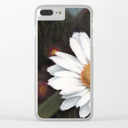 A white sunflower drawing using pastels Clear iPhone Case