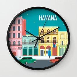 Havana, Cuba - Skyline Illustration by Loose Petals Wall Clock