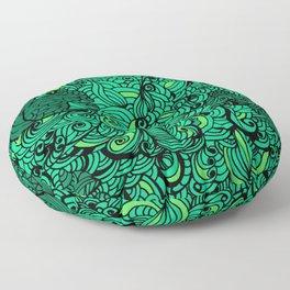 Squirrels Zentangle Drawing Green Floor Pillow