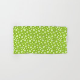 Christmas design green background with white snowflakes Hand & Bath Towel