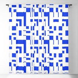 Blue Pixel Plaid Grid Blackout Curtain
