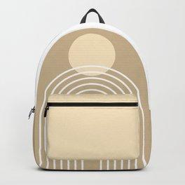 Mid Century Modern Geometric 45 in Beige (Rainbow Sun Abstraction) Backpack