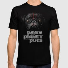 Dawn of the Planet of the Pugs LARGE Black Mens Fitted Tee